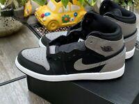 NIKE AIR JORDAN 1 RETRO HIGH OG BP Black Gray Shoes AQ2664-013 Youth 2.5Y