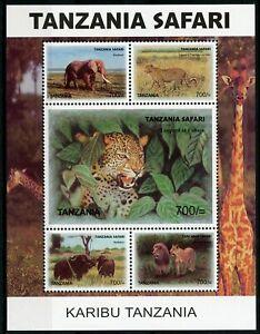 Tanzania Wild Animals Stamps 2007 MNH Karibu Safari Elephants Lions 5v M/S