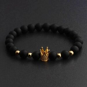 Luxury Crown Natural Stone Matte Black Charm Men's Copper Bead Fashion Bracelets