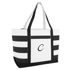 DALIX Striped Beach Bag Tote Bags Satchel Personalized Black Ballent Letter A-Z