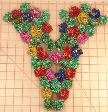 Colorful beaded sequins bodice applique Red Yellow Blue fuchsia green gold 15""