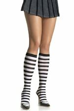 leg avenue alice in wonderland costume Black White striped knee high socks 5577