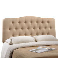Button Tufted Padded Upholstered Fabric Queen Size Headboard in Beige