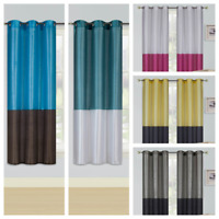 "2PC SET PATCHWORK SHORT GROMMET PANELS WINDOW CURTAIN DRAPE 74""WIDE X 63"" LONG"