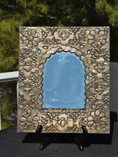 """Punched Tin Floral Wall Mirror 14x12"""" Mexico Scratch Free Glass"""