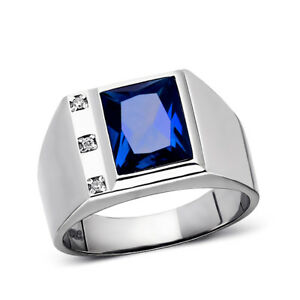 3 Diamond Accents Real 925 Solid Sterling Silver Mens Blue Sapphire Ring All Sz