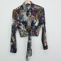 SHEIKE | Womens Palm Print Button Up Tie Detail Blouse Top [ Size AU 6 or US 2 ]