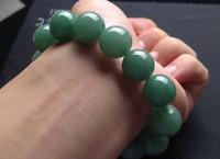 Round Imperial Apple Green JADE JADEITE 13mm Bead Beads Bangle Bracelet AAA