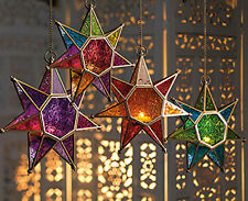 Hanging star glass lantern tea light holder choice of 4 colours-25cm