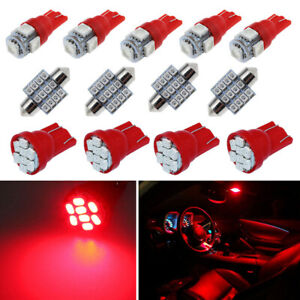 13Pcs Red Car LED Lights Interior Package Kit Dome Map License Plate Lamp Bulbs