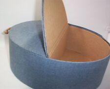 Wig & Hair Piece Storage Box Denim Blue Jean Fabric Double Sided Box