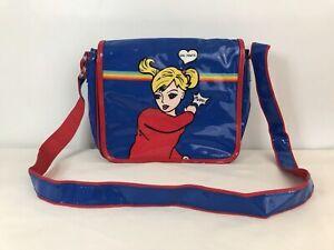 "Vintage 90's Patent Leather Cartoon ""Girl Power"" Rainbow Crossbody Bag Purse"