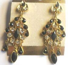 boucles d'oreilles bijou percées vintage couleur or cristal noir /diamant * 3881