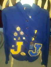 Vintage 70s Womens Letterman Cardigan Sweater Button Up Jefferson Indians Medals