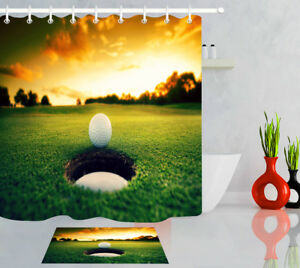 Sunset Golf Ball Near Course Hole Polyester Waterproof Fabric Shower Curtain Set
