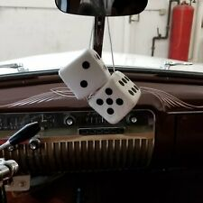 White Custom Fuzzy Hanging Rearview Mirror Dice w/ Black Dots street corvette V8