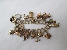 Heavy 9ct Gold Charm Bracelet.