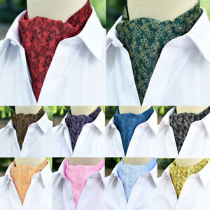 Men's High Grade Floral Print Cravat Ascot Scarves Tie Wedding Business Necktie
