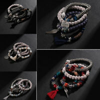 Stone Chain Multilayer  Wristband Jewelry Set Beaded Bracelet  Crystal Bangle