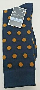 West Loop Mens Fashion Dress Suit Socks Navy with Brown Polka Dots Shoe Sz 6-12