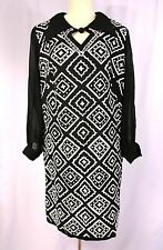 VINTAGE Black & White Sparkle Diamond Pattern Dress w/ Chiffon Sleeves- M L