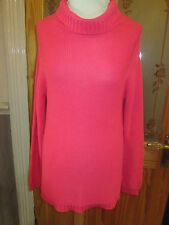 Cotton Traders Coral Pink Cowl Neck Knitted Jumper Size 14 - 16 & Tags