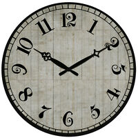 Vintage Style Wall Clock Rustic Shabby Chic Home Kitchen Decor Wooden 38cm Large
