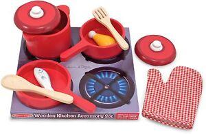 Melissa & Doug Deluxe Wooden Kitchen Accessory Set Red - Pots & Pans 8 pcs 2610