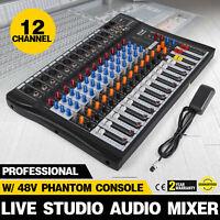 120S-USB 12 Channel Live Studio Audio Mixer Mixing Console Phantom Power N3Y6