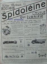 PUBLICITE SPIDOLEINE HUILE POUR MOTEUR AUTOMOBILE CAMION MOTOCYCLETTE DE 1923 AD