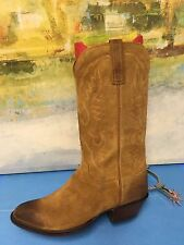 Lucchese Handmade Men's Leather Camel Brown Suede Boots, Size 9 (D)