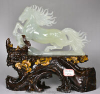 "13 ""chinois naturel 100% Xiu Jade jadéite Animal Zodiac Année Cheval Sculpture"