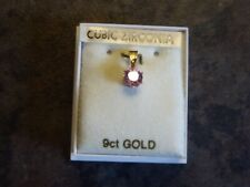 Vintage 9CT Gold Cubic Zirconia Pendant Pink Ideal Gift/Present
