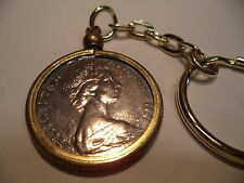 1981 Coin Set in a Brass Bezel With Screw Top Use as  Key Ring or Pendant