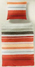 Bierbaum Bettwäsche Streifen rot/orange/weiß - koralle - 135 x 200cm - Renforcé