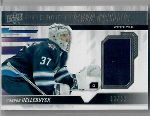 2019-20 UP DECK Premier Connor Hellebuyck Premier Swatches Patch 63 OF 99 JETS