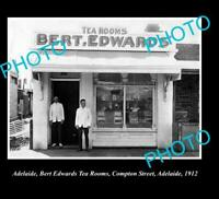 OLD POSTCARD SIZE PHOTO OF ADELAIDE CITY SA BERT EDWARDS TEA ROOM c1912
