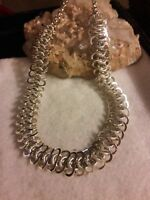 """Vintage 1950's Silver Tone 16-18"""" Link Necklace Germany Retro Mint condition"""