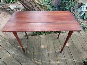 Antique Wooden Folding Sewing Table Work Table 19 x 36 Ruler Patina