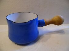 Dansk Royal Blue Enamel Butter/Sauce Pot Wood Handle France