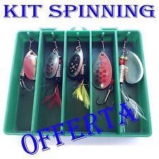kit spinning esche artificiali trota cucchiaini + scatola pesca fiume lago