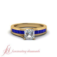 1.50 Carat Asccher Cut Diamond Engagement Ring With Princess Blue Sapphire GIA