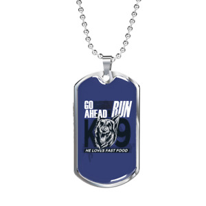 """Go Ahead Necklace Stainless Steel or 18k Gold Dog Tag 24"""""""