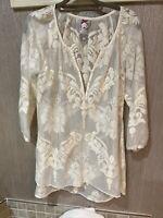 Anthropologie Yoana Baraschi sheer Cream Floral Tunic blouse S