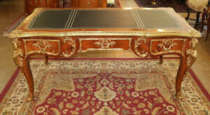 Gorgeous French Louis XV Style Bronze Mounted Bureau Plat Desk