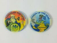 Lot of 2 One Dollar Vision Of The Seas Royal Caribbean Casino Chip Cruise Ship