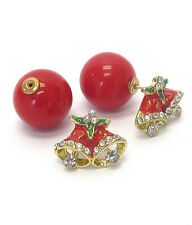 CHRISTMAS BELLS RED Front & Back Double Sided Clear Crystals Ball Earrings