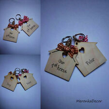 Our first home keyring set -Personalised with names -for couples -any colour