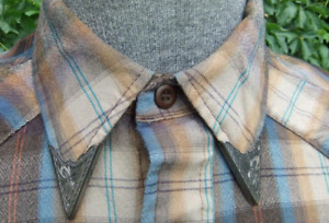 Solid 925 Sterling Silver Men's Western Shirt Excellent Fantastic Collar Tips
