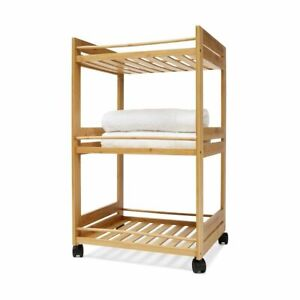 Bamboo Trolley Cart 3 Shelf Tier Linen Rack Storage Bathroom Shelves Wheels R